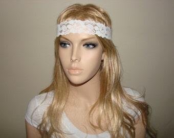 White lace headband thin, yoga headband,  Roses Summer skinny Headband, boho flower lace headband, Woman Bridal stretchy  lace headband
