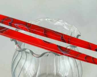 acrylic hair stick red with black pin striping hair jewelry (choose one or more)