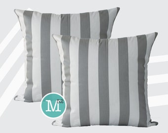 Grey Stripe Canopy Pillow Covers - 18 x 18, 20 x 20 and More Sizes - Zipper Closure- dc1820