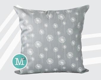 Grey Dandelion Pillow Cover Sham - 18 x 18, 20 x 20 and More Sizes - Zipper Closure - sc1820