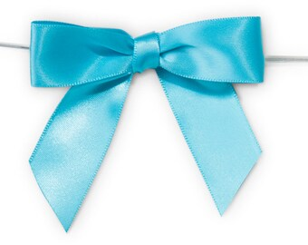 """Turquoise Blue 3"""" Pre-Tied Satin Bows with 5"""" Twist Ties~ 7/8"""" ribbon- Pack of 6"""
