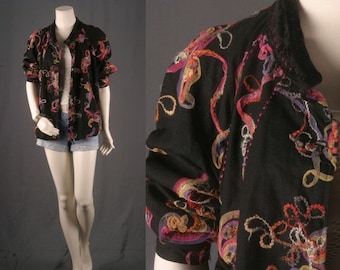 Black jacket embroidery vintage blazer Bohemian Gypsy Boho Women size M or L medium or large