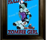 Roller Derby Art Print 8 x 10 - Zombie Roller Derby Girl - Roller Skating - Derby Girl - Pin Up Retro