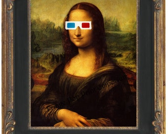 Mona Lisa 3D Glasses Art Print 8 x 10 - Leonardo Da Vinci Fine Art Pop Surrealism - Hipster Quirky