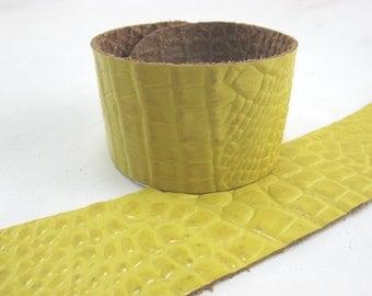 "Gator Yellow Leather Cuff Bracelet  1-5/8"" Wide, #57-807"