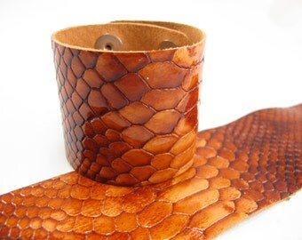 "Patent Snake Orange Leather Cuff Bracelet 2"" Wide, #57-85251646"