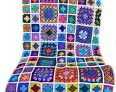Crochet afghan handmade crochet blanket kaleidoscope crochet granny square afghan off-white cream aran border, 56 inches, MADE TO ORDER