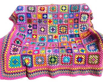 Crocheted afghan crochet blanket handmade crochet bedspread granny square afghan, pink border, 58 inches,  MADE TO ORDER