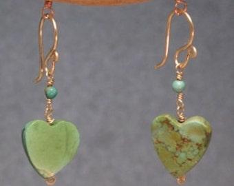 Green Turquoise Heart Earrings Modglam 154