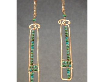 Hammered drop earrings turquoise Bohemian 107