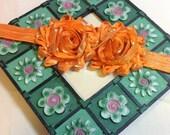 Shiny Orange Shabby Chic Flowers on an Shiny Orange Headband, Infant to Adult