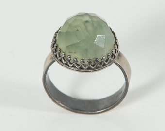 Jade Cushion Cut in Crown bezel ring - Sterling Silver stone Ring - Natural stone ring - size 8