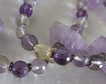 Christmas Gift - Multi-stone Silver Necklace - Amethyst  Citrine Quartz necklace