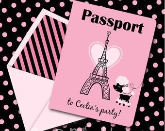 INSTANT DOWNLOAD, Pink Parisian Poodle Birthday Passport, Printable Invitation, You Edit Yourself in Adobe Reader