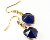 Navy Blue Earrings, Blue Earrings, Blue Jewellery, Blue Heart Earrings, Blue Dangle Earrings, Midnight Blue Earrings