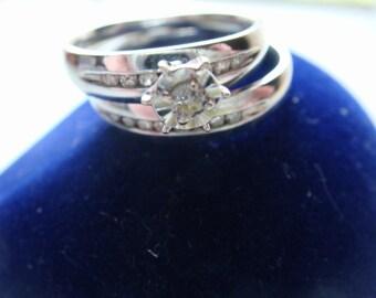 Wedding Ring Set 10k White Gold