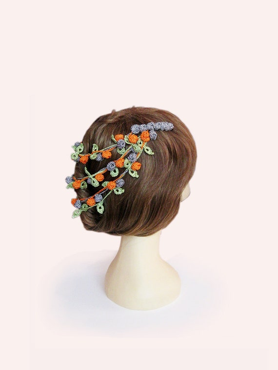 Crochet Hair Jewelry : Hand crochet jewelry,Wedding hair accessories, Bridal hair comb,flower ...