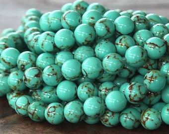Magnesite Beads, Light Teal Green, 6mm Round - 15.5 inch Strand - eGR-MG001-6