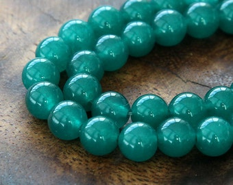 Dyed Jade Beads, Semi-Transparent Dark Teal Green, 8mm Round - 15 Inch Strand - ESJR-G35-8