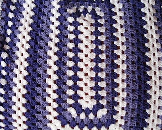 Purple Crocheted Rectangle Granny Square Lapghan By Nanaletha