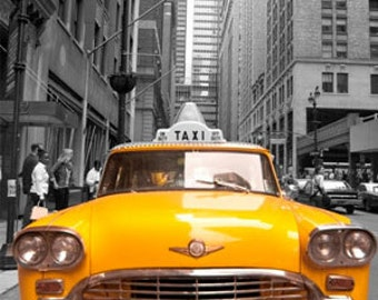 Yellow cab taxi new york hdr artistic Photo, Canvas oil printing.