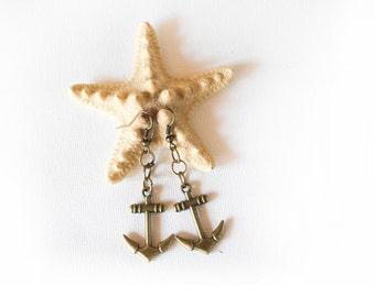 Аnchor Earrings, Antique Brass Bronze Earrings, Vintage Looking Earrings, Gift for Her