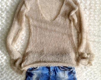 Women's Blouse Knitwear  Beige V Neck Sweater Tops Grunge Clothing