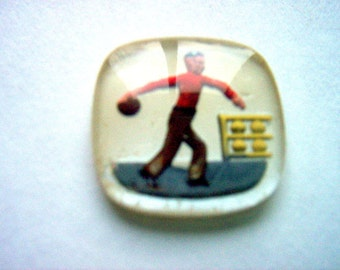Vintage Glass Intaglio of Man Bowling   # CCCC  1-3