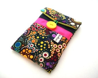 phone case black canvas,multicolor bubbles -iphone sleeve in padded fabric