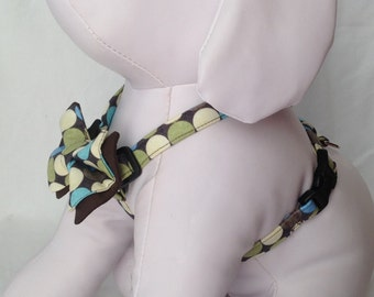 Dog Harness / Green & Blue Polka Dots - Size  XS, S, M