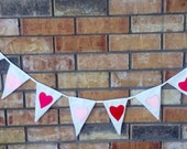 Bunting Red Pink and Light Pink felt hearts photo props nursery decoration banner