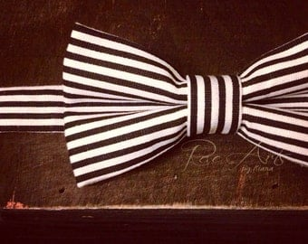 The Jack - Black and White Striped Bow Tie