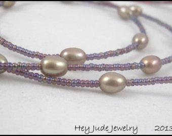 Handmade Eyeglass Leash - Plum Beads and Mocha Pearls