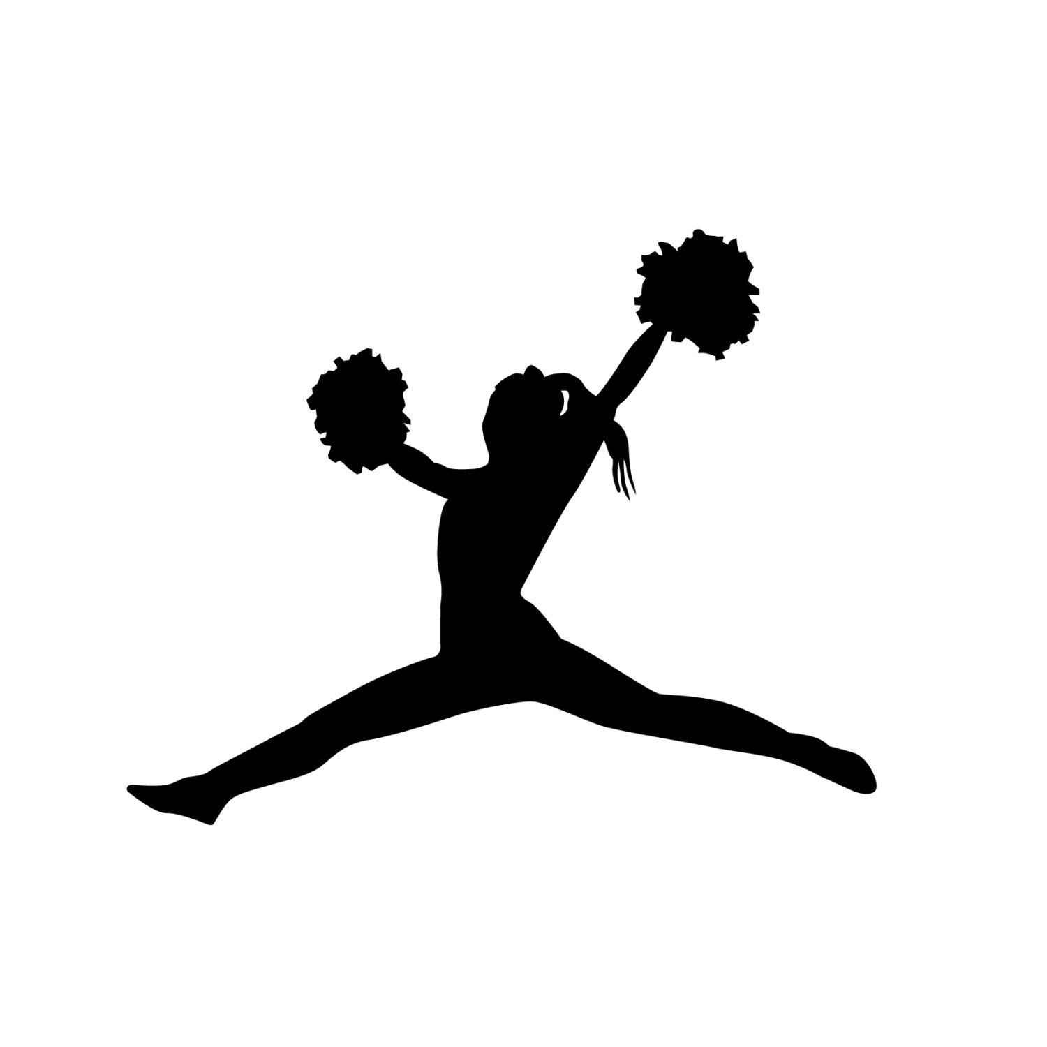 cheerleader toe touch jump silhouette sports wall decal