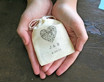 Personalized wedding ring bag.  Ring pillow alternative, ring bearer, ring warming ceremony.  Heart with custom initials and date.