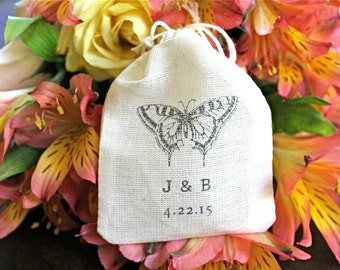 Personalized wedding ring bag. Rustic ring warming bag, ring bearer accessory.  Butterfly with initials and wedding date.