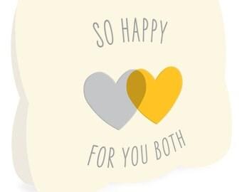 Two Hearts Letterpress Wedding Congratulations Card • LP784