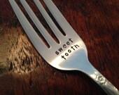 Sweet Tooth  recycled  vintage silverware hand stamped fork