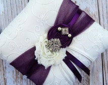 Ring Bearer Pillow  / Plum Ring Bearer Pillow / YOU DESIGN /  Ring Bearer Pillow / Deep plum Wedding pillow