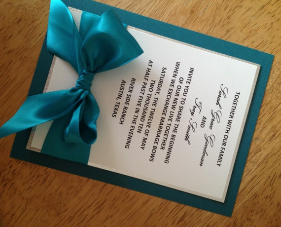 Silver Wedding Invitations: Items Similar To Teal And Silver Wedding Invitation On Etsy