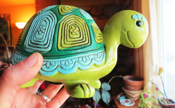 Sale 1969 turtle piggy bank vintage children 39 s toy knick for How to paint a ceramic piggy bank