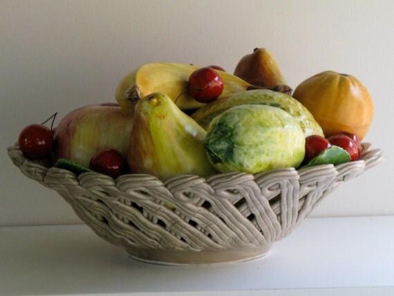 Reserved For Christina Bassano Ceramic Fruit Basket Latticed