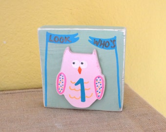 Owl Baby Birthday Decor Wood Block Shelf Sitter