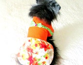 Cotton Little Dog's Dress, Custom Order for Small Size - Orange, Red,Yellow and White - Maltese Bichon