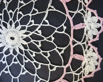 HAND CROCHET DOILY Lovely pastel colors Pink-HIvoryVery Fine Thin Doily,   Unique