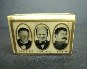 PERFECT Historical Value Match Box Cover Second WW Allies Politics Roosevelt Churchill and Stalin US England Russia