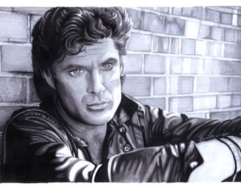 David Hasselhoff The Hoff Marker Drawing A3 PRINT by Coral Briglia