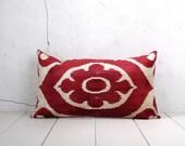 16 x 26 Decorative Pillow Accent Pillow Throw Pillow Ikat Pillow Cover Silk Pillow Velvet Ikat Cushion - 04158-116
