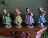 Set of 4 Porcelain Flower Girl in Pastel Colored Dresses Figurines, E-1652