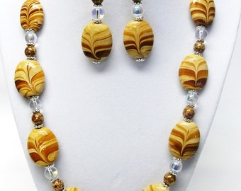 Cream and Brown Swirl Oval Glass Bead Necklace & Earrings Set